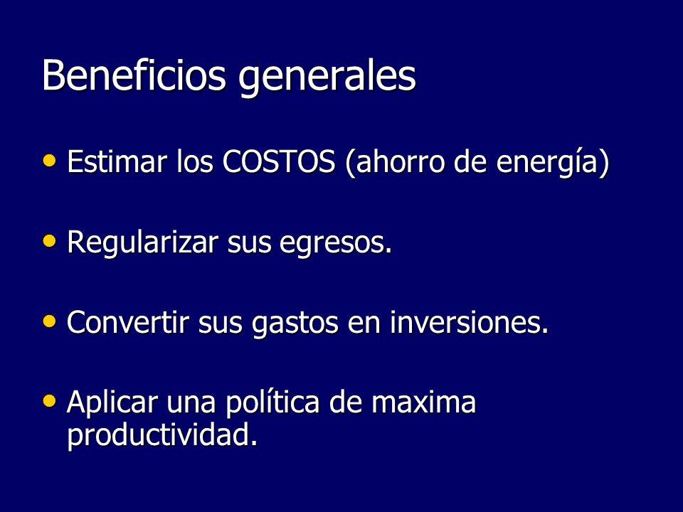 Beneficios generales Estimar los COSTOS (ahorro de energía) Estimar los COSTOS (ahorro de energía) Regularizar sus egresos. Regularizar sus egresos. C