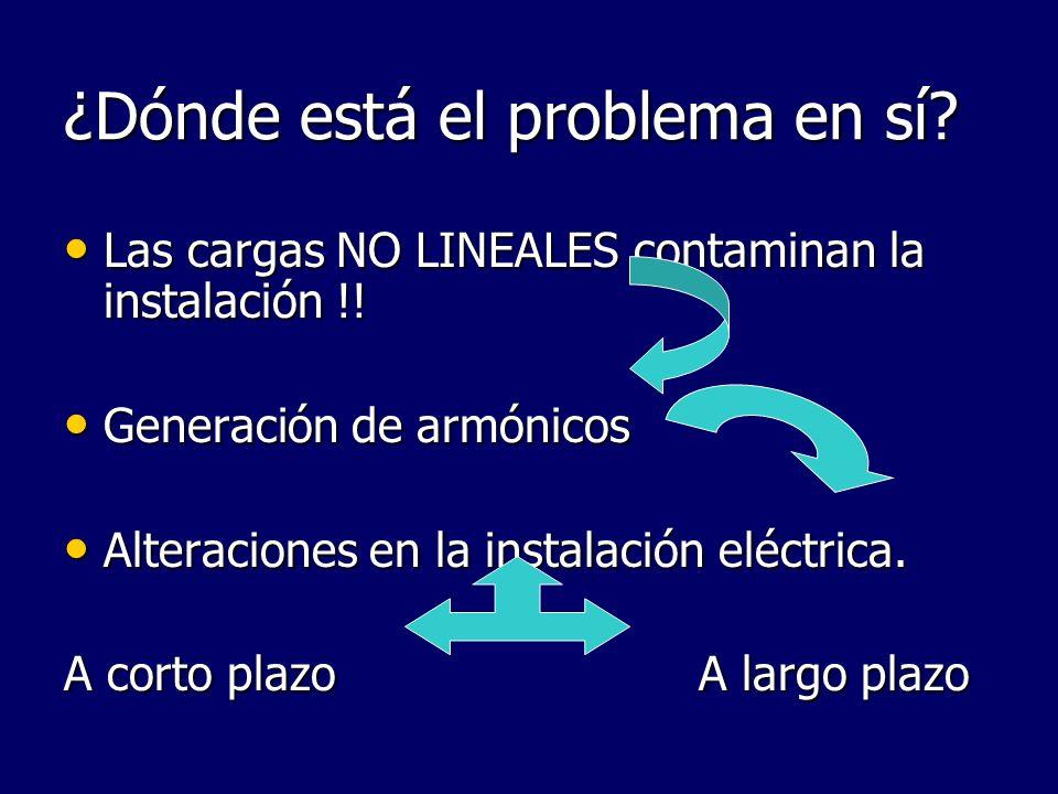 ¿Dónde está el problema en sí? Las cargas NO LINEALES contaminan la instalación !! Las cargas NO LINEALES contaminan la instalación !! Generación de a