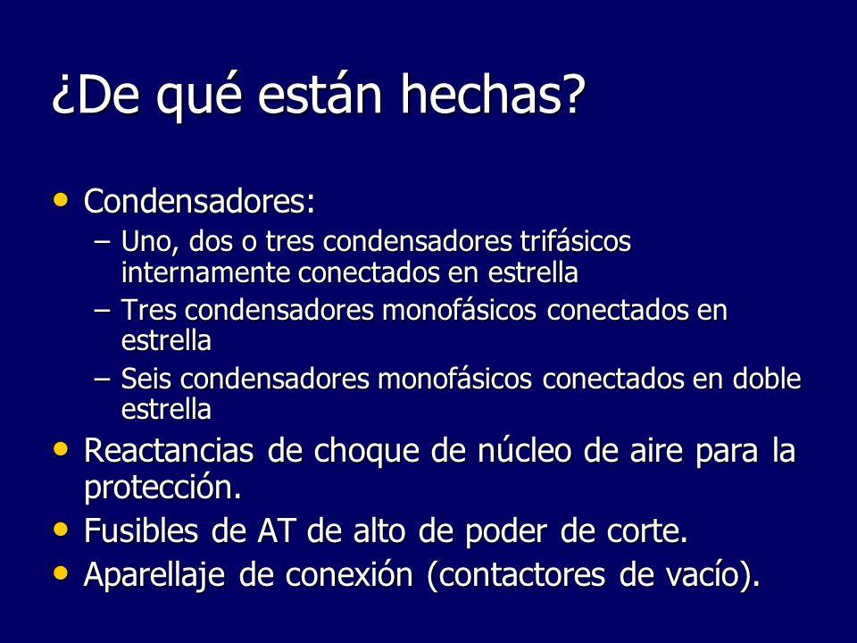 ¿De qué están hechas? Condensadores: Condensadores: –Uno, dos o tres condensadores trifásicos internamente conectados en estrella –Tres condensadores