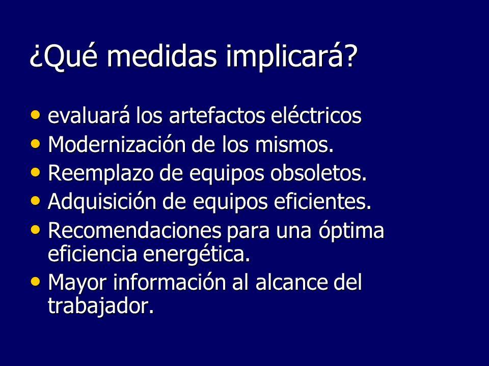 ¿Qué medidas implicará? evaluará los artefactos eléctricos evaluará los artefactos eléctricos Modernización de los mismos. Modernización de los mismos