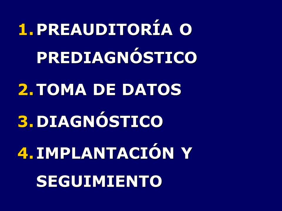 1.PREAUDITORÍA O PREDIAGNÓSTICO 2.TOMA DE DATOS 3.DIAGNÓSTICO 4.IMPLANTACIÓN Y SEGUIMIENTO