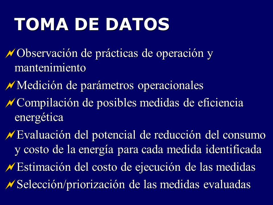 TOMA DE DATOS Observación de prácticas de operación y mantenimiento Observación de prácticas de operación y mantenimiento Medición de parámetros opera