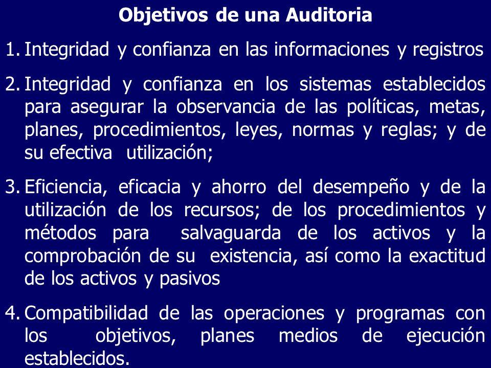 Objetivos de una Auditoria 1.Integridad y confianza en las informaciones y registros 2.Integridad y confianza en los sistemas establecidos para asegur