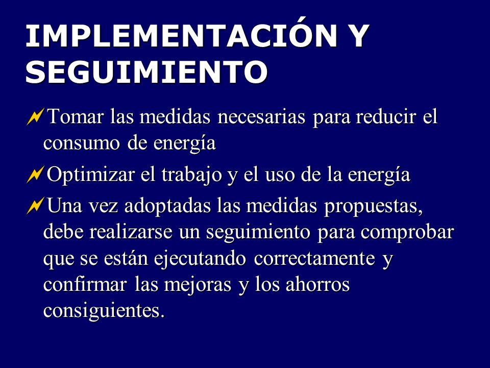 IMPLEMENTACIÓN Y SEGUIMIENTO Tomar las medidas necesarias para reducir el consumo de energía Tomar las medidas necesarias para reducir el consumo de e