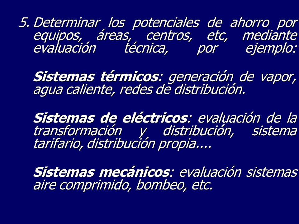 5.Determinar los potenciales de ahorro por equipos, áreas, centros, etc, mediante evaluación técnica, por ejemplo: Sistemas térmicos: generación de va