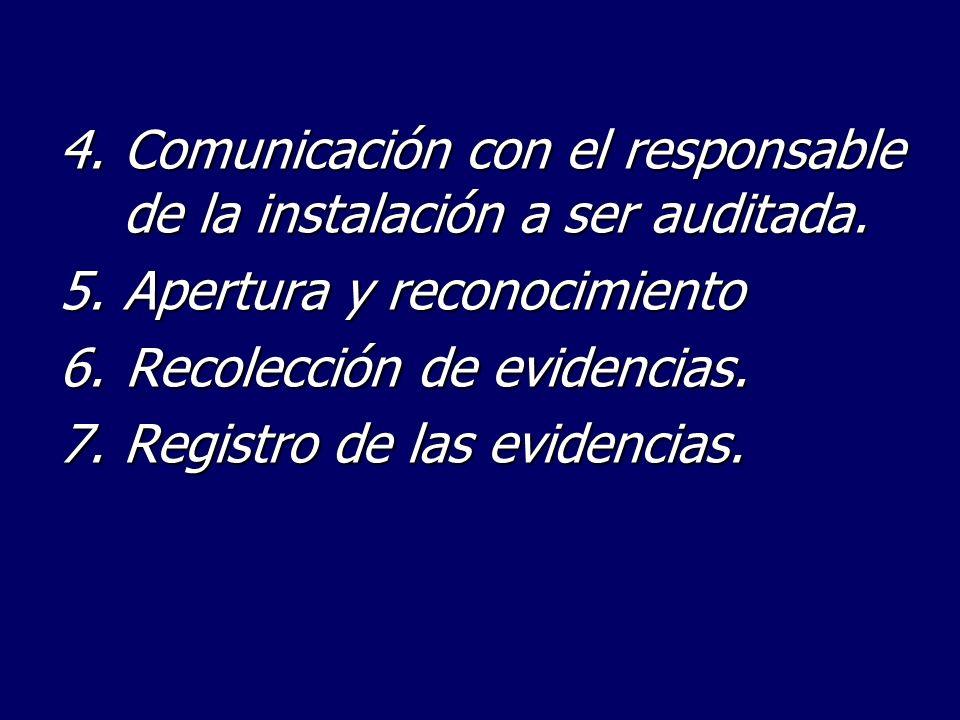 4.Comunicación con el responsable de la instalación a ser auditada. 5. Apertura y reconocimiento 6.Recolección de evidencias. 7.Registro de las eviden