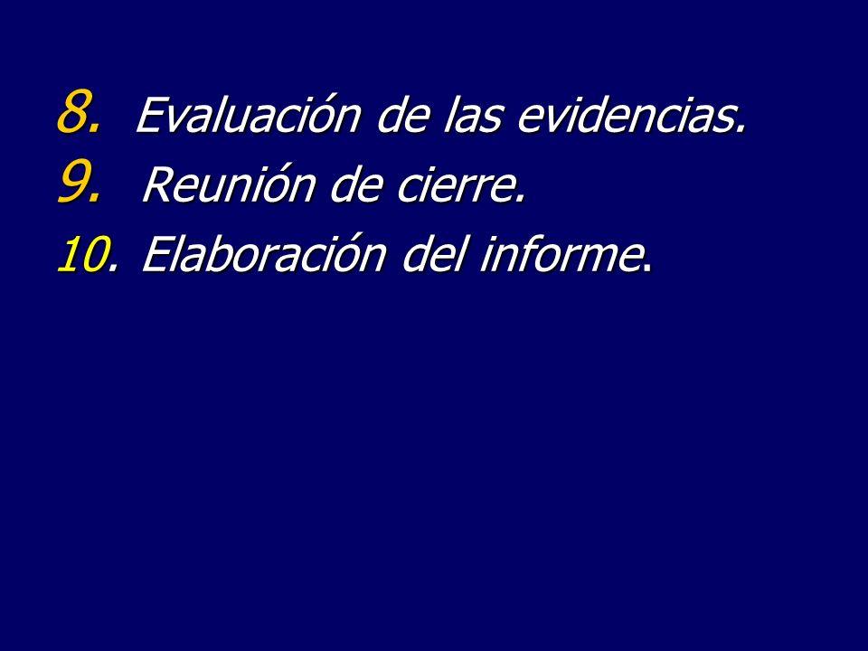 8. Evaluación de las evidencias. 9. Reunión de cierre. 10.Elaboración del informe.