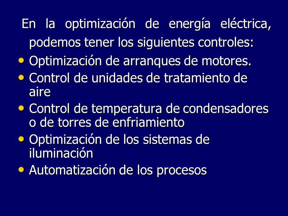 En la optimización de energía eléctrica, podemos tener los siguientes controles: En la optimización de energía eléctrica, podemos tener los siguientes