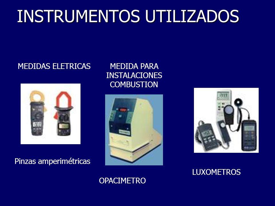 INSTRUMENTOS UTILIZADOS LUXOMETROS OPACIMETRO Pinzas amperimétricas MEDIDAS ELETRICASMEDIDA PARA INSTALACIONES COMBUSTION