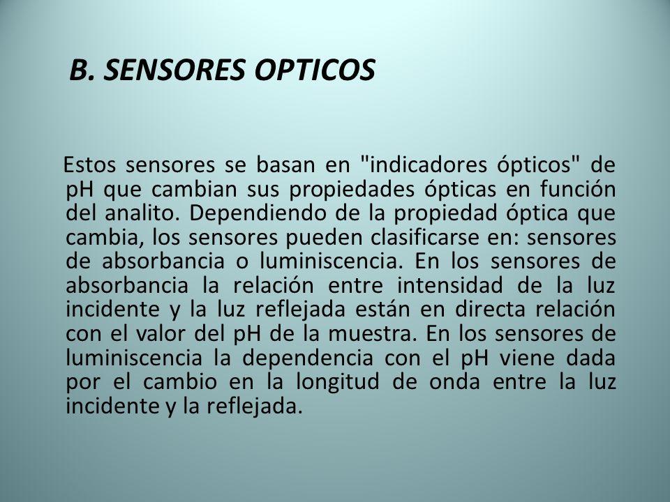 B. SENSORES OPTICOS Estos sensores se basan en