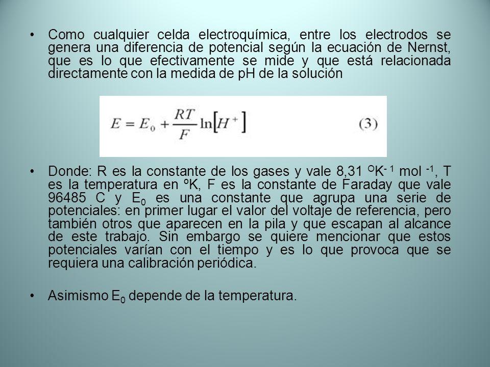 Como cualquier celda electroquímica, entre los electrodos se genera una diferencia de potencial según la ecuación de Nernst, que es lo que efectivamen