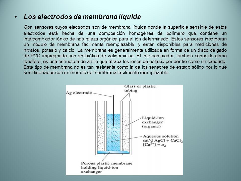 Los electrodos de membrana líquida Son sensores cuyos electrodos son de membrana líquida donde la superficie sensible de estos electrodos está hecha d