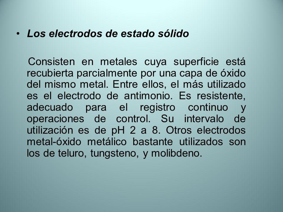 Los electrodos de estado sólido Consisten en metales cuya superficie está recubierta parcialmente por una capa de óxido del mismo metal. Entre ellos,