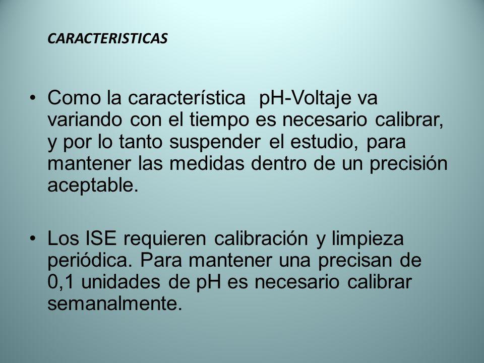 CARACTERISTICAS Como la característica pH-Voltaje va variando con el tiempo es necesario calibrar, y por lo tanto suspender el estudio, para mantener
