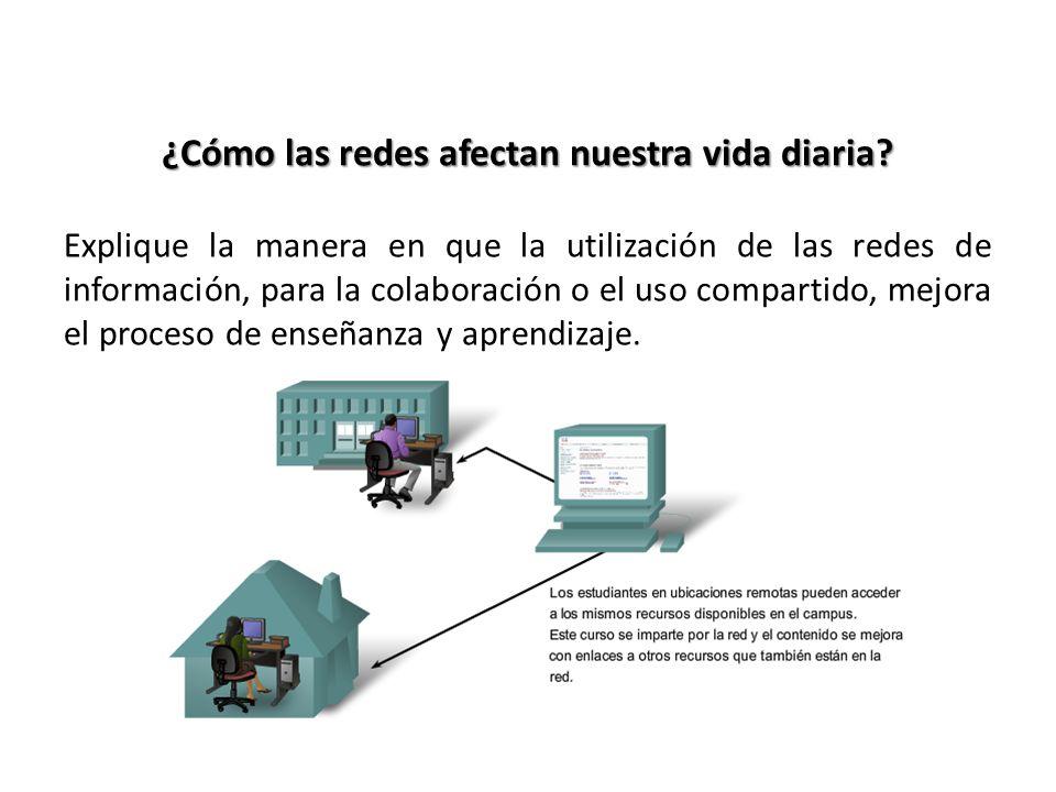 ¿Cómo las redes afectan nuestra vida diaria? Explique la manera en que la utilización de las redes de información, para la colaboración o el uso compa