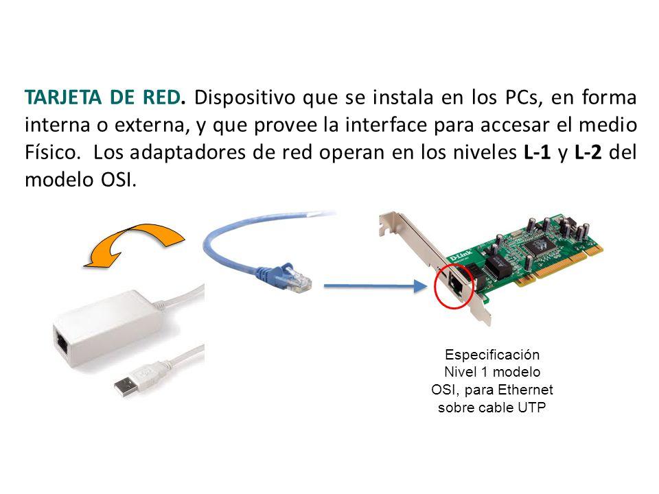 Especificación Nivel 1 modelo OSI, para Ethernet sobre cable UTP TARJETA DE RED. Dispositivo que se instala en los PCs, en forma interna o externa, y