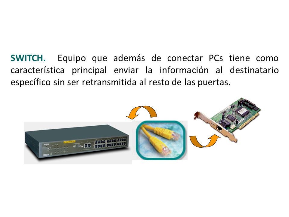 SWITCH. Equipo que además de conectar PCs tiene como característica principal enviar la información al destinatario específico sin ser retransmitida a
