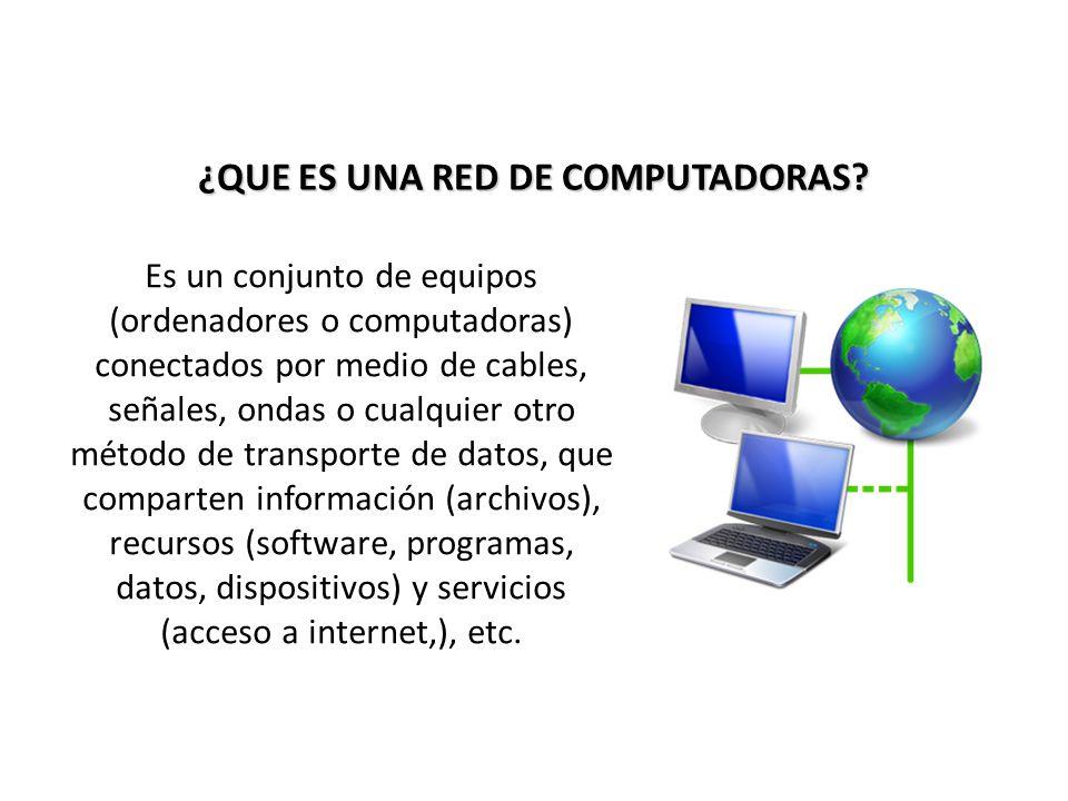 ¿QUE ES UNA RED DE COMPUTADORAS? Es un conjunto de equipos (ordenadores o computadoras) conectados por medio de cables, señales, ondas o cualquier otr