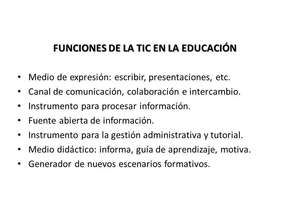 FUNCIONES DE LA TIC EN LA EDUCACIÓN Medio de expresión: escribir, presentaciones, etc. Canal de comunicación, colaboración e intercambio. Instrumento