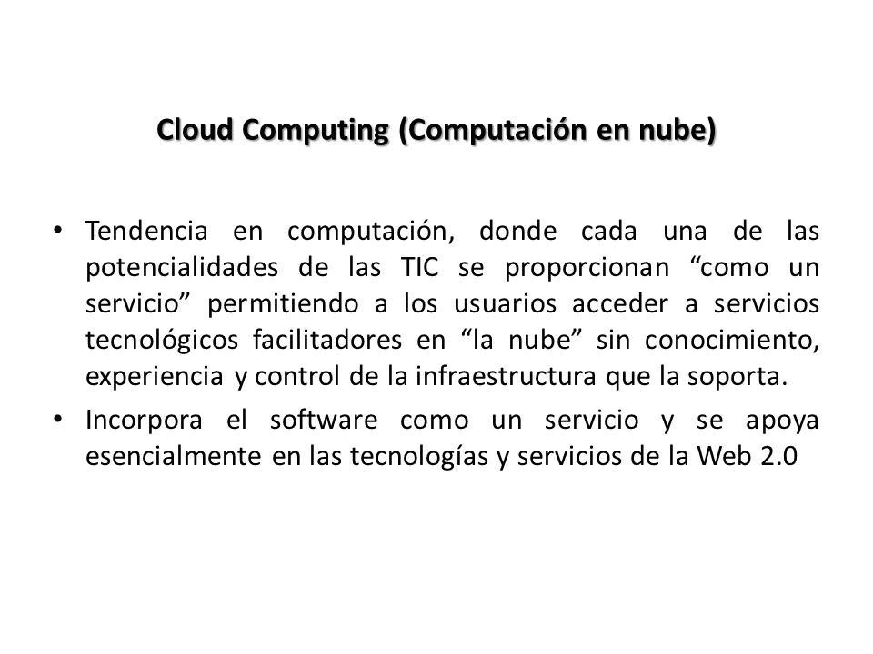 Cloud Computing (Computación en nube) Tendencia en computación, donde cada una de las potencialidades de las TIC se proporcionan como un servicio perm