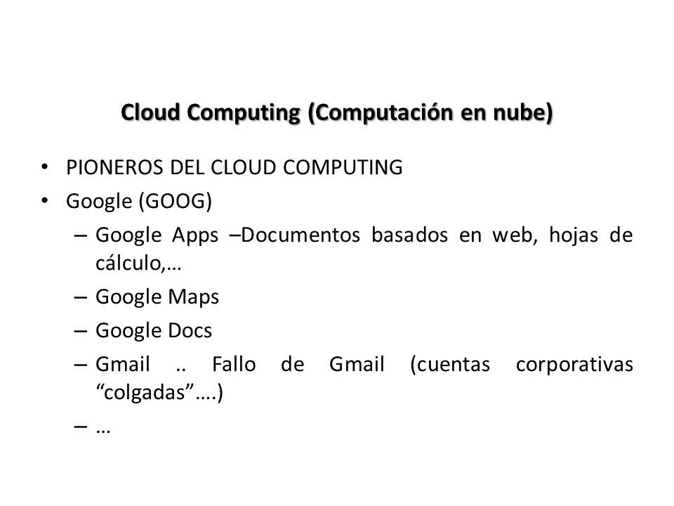 Cloud Computing (Computación en nube) PIONEROS DEL CLOUD COMPUTING Google (GOOG) – Google Apps –Documentos basados en web, hojas de cálculo,… – Google