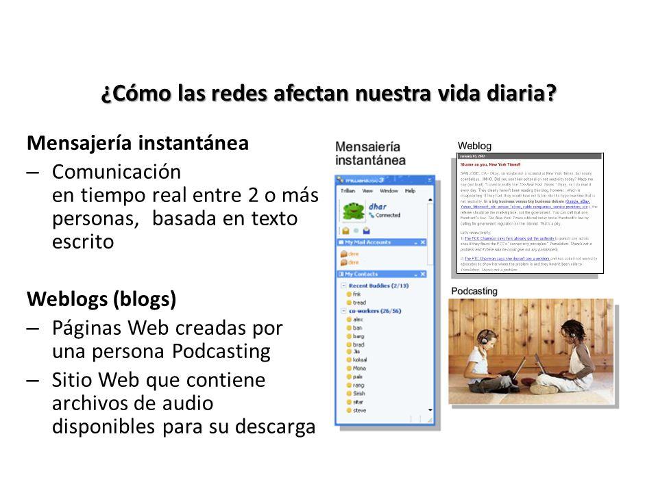 ¿Cómo las redes afectan nuestra vida diaria? Mensajería instantánea – Comunicación en tiempo real entre 2 o más personas, basada en texto escrito Webl