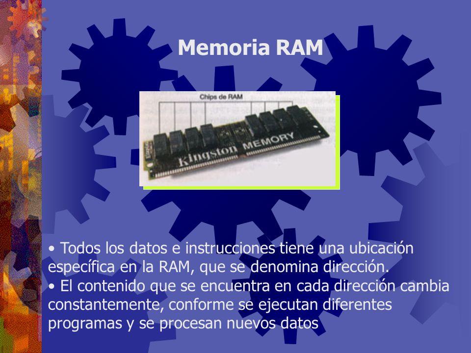Todos los datos e instrucciones tiene una ubicación específica en la RAM, que se denomina dirección. El contenido que se encuentra en cada dirección c
