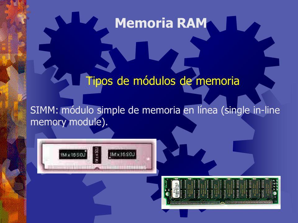 SIMM: módulo simple de memoria en línea (single in-line memory module). Memoria RAM Tipos de módulos de memoria