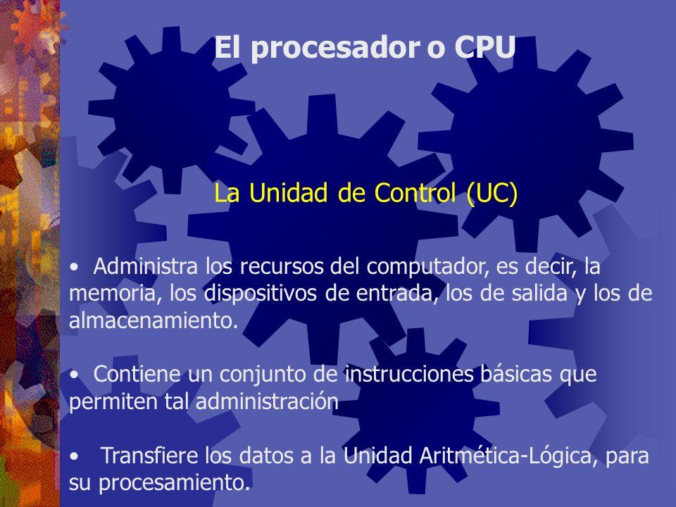 Administra los recursos del computador, es decir, la memoria, los dispositivos de entrada, los de salida y los de almacenamiento. Contiene un conjunto