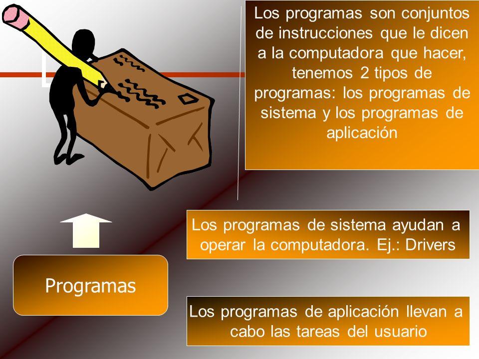 Programas Los programas son conjuntos de instrucciones que le dicen a la computadora que hacer, tenemos 2 tipos de programas: los programas de sistema