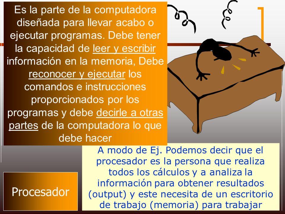 Procesador A modo de Ej. Podemos decir que el procesador es la persona que realiza todos los cálculos y a analiza la información para obtener resultad