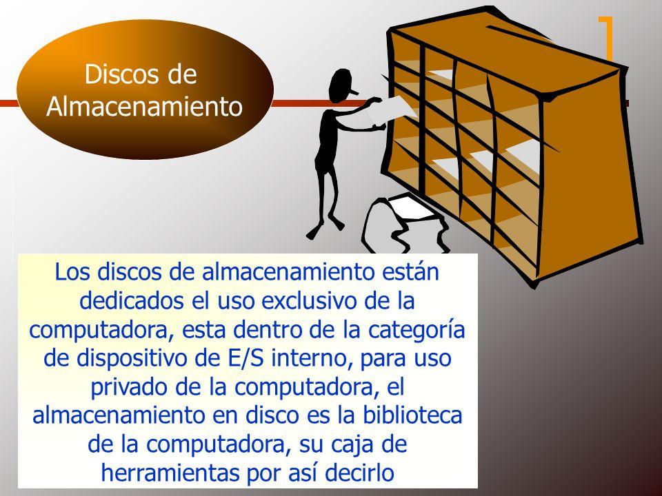 Discos de Almacenamiento Los discos de almacenamiento están dedicados el uso exclusivo de la computadora, esta dentro de la categoría de dispositivo d