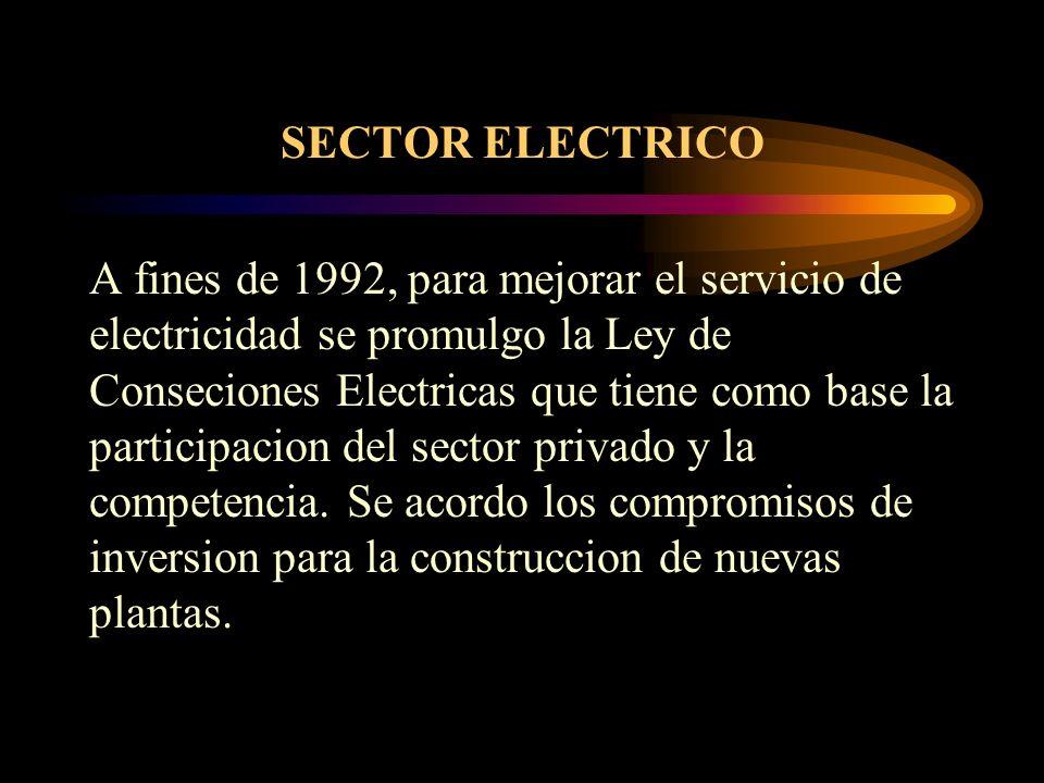 SECTOR ELECTRICO A fines de 1992, para mejorar el servicio de electricidad se promulgo la Ley de Conseciones Electricas que tiene como base la partici