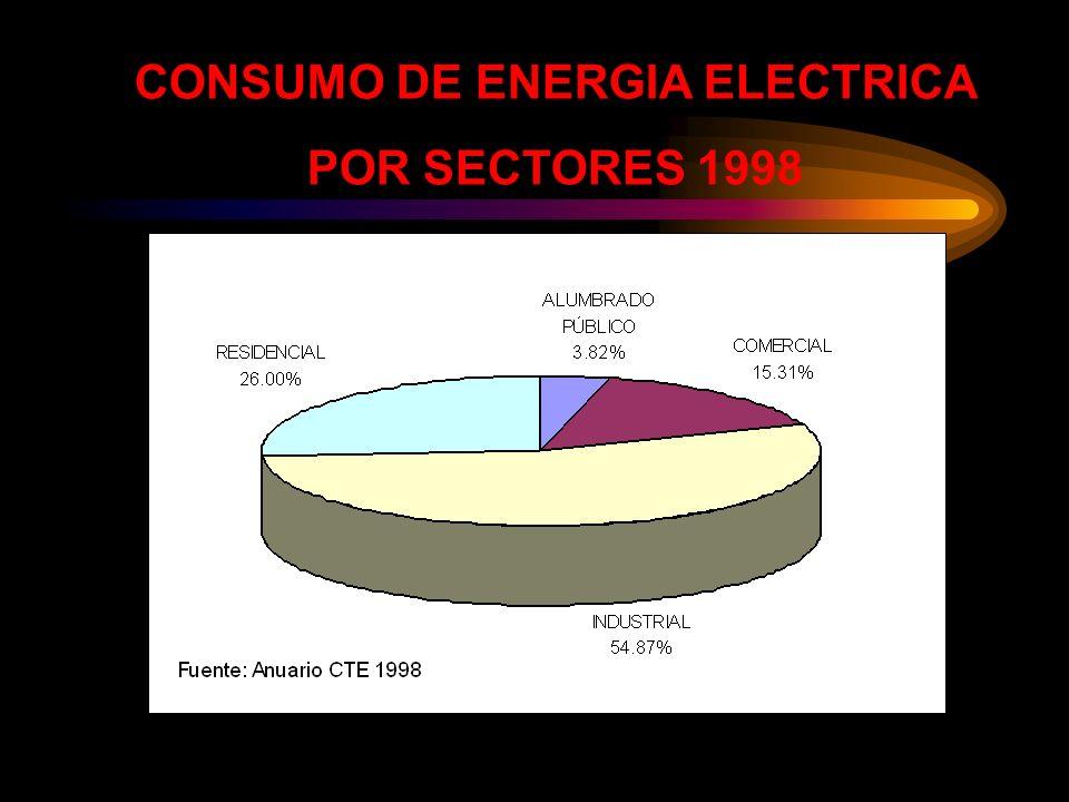 CONSUMO DE ENERGIA ELECTRICA POR SECTORES 1998
