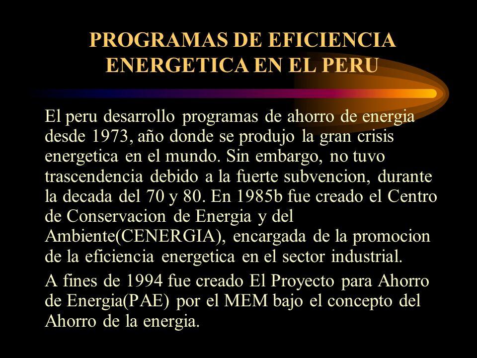 PROGRAMAS DE EFICIENCIA ENERGETICA EN EL PERU El peru desarrollo programas de ahorro de energia desde 1973, año donde se produjo la gran crisis energe