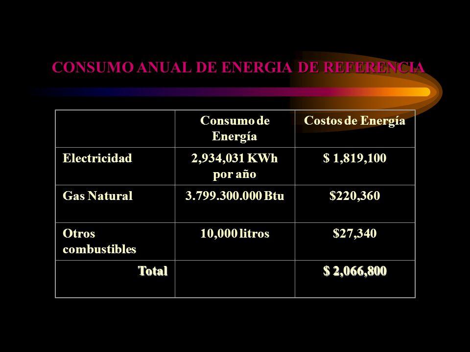 CONSUMO ANUAL DE ENERGIA DE REFERENCIA Consumo de Energía Costos de Energía Electricidad2,934,031 KWh por año $ 1,819,100 Gas Natural3.799.300.000 Btu