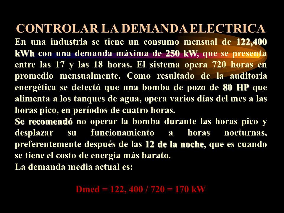 CONTROLAR LA DEMANDA ELECTRICA 122,400 kWh250 kW 80 HP En una industria se tiene un consumo mensual de 122,400 kWh con una demanda máxima de 250 kW, q