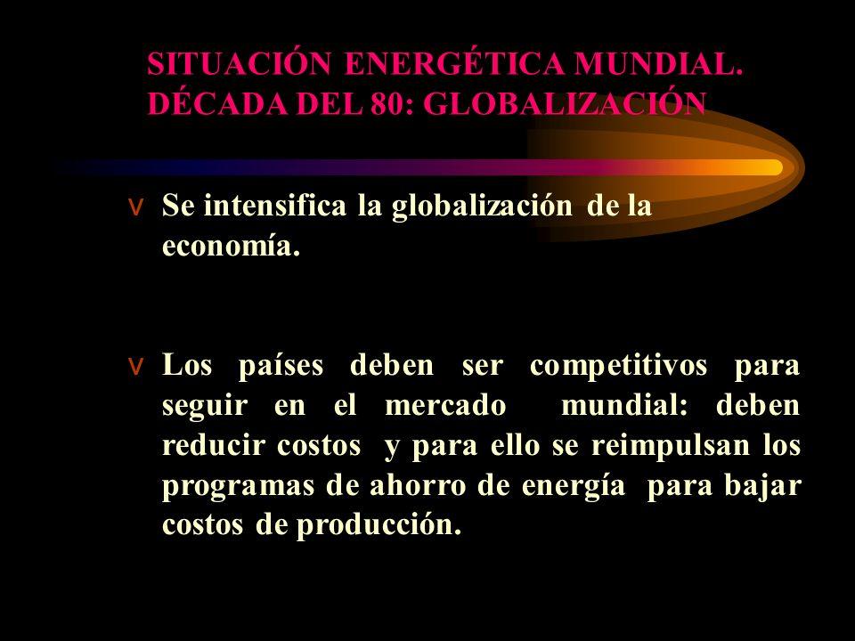 vSe intensifica la globalización de la economía. vLos países deben ser competitivos para seguir en el mercado mundial: deben reducir costos y para ell