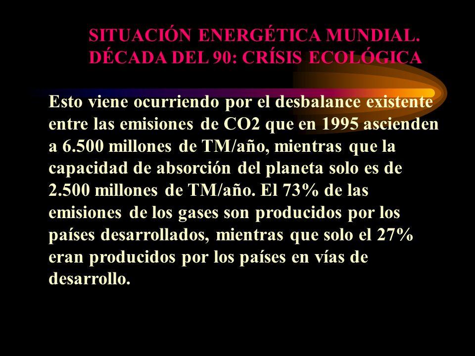 SITUACIÓN ENERGÉTICA MUNDIAL. DÉCADA DEL 90: CRÍSIS ECOLÓGICA Esto viene ocurriendo por el desbalance existente entre las emisiones de CO2 que en 1995