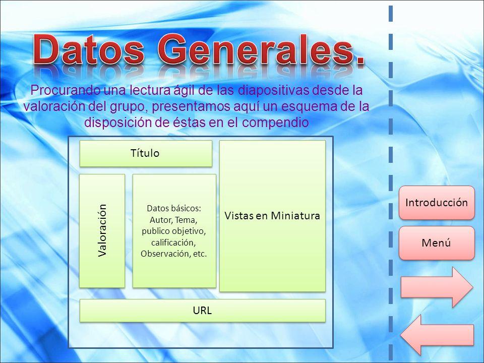 Procurando una lectura ágil de las diapositivas desde la valoración del grupo, presentamos aquí un esquema de la disposición de éstas en el compendio