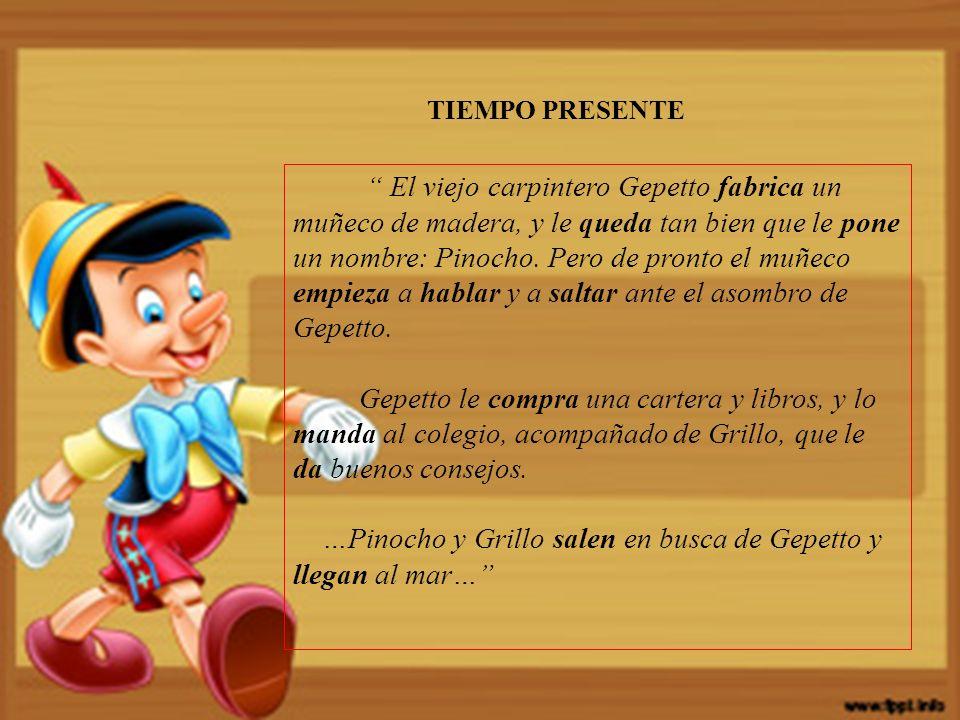 El viejo carpintero Gepetto fabrica un muñeco de madera, y le queda tan bien que le pone un nombre: Pinocho.