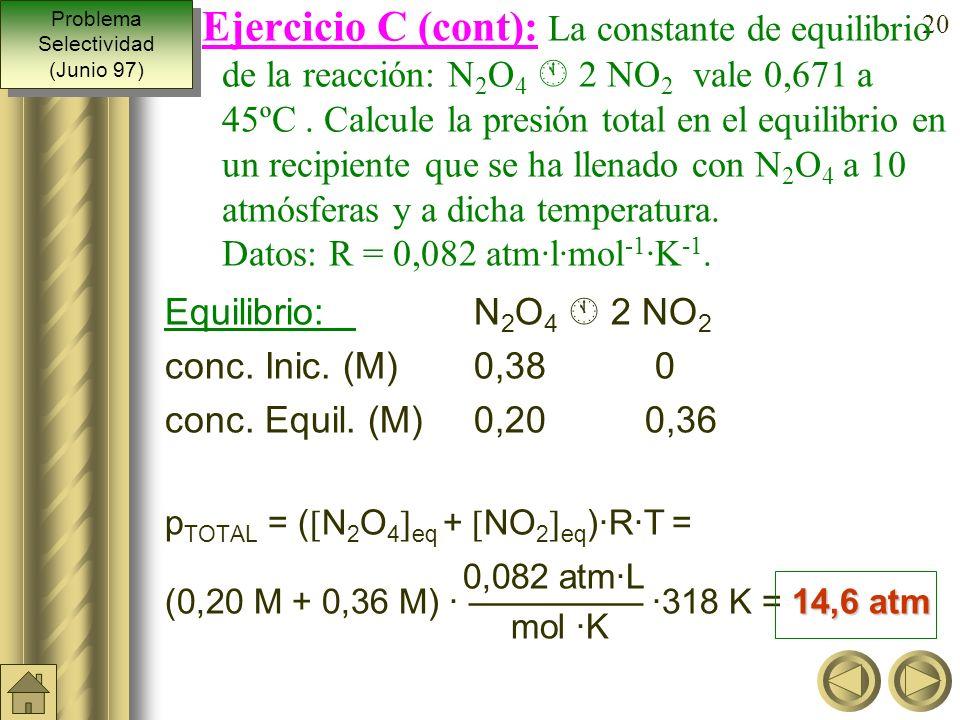 19 De la ecuación de los gases podemos deducir: p 10 atm · mol ·K [N 2 O 4 ] inic. = = = 0, 38 M R · T 0,082 atm·L · 318 K Equilibrio: N 2 O 4 2 NO 2