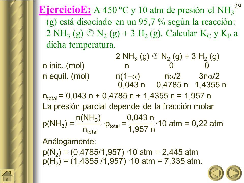 28 EjercicioD (cont): En el equilibrio anterior (K c = 0,042): PCl 5 (g) PCl 3 (g) + Cl 2 (g) ¿cuál sería el grado de disociación y el número de moles
