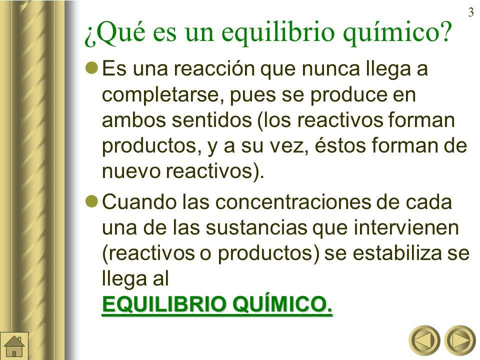 33 Cociente de reacción (Q) (cont) Si Q = K c entonces el sistema está en equilibrio.
