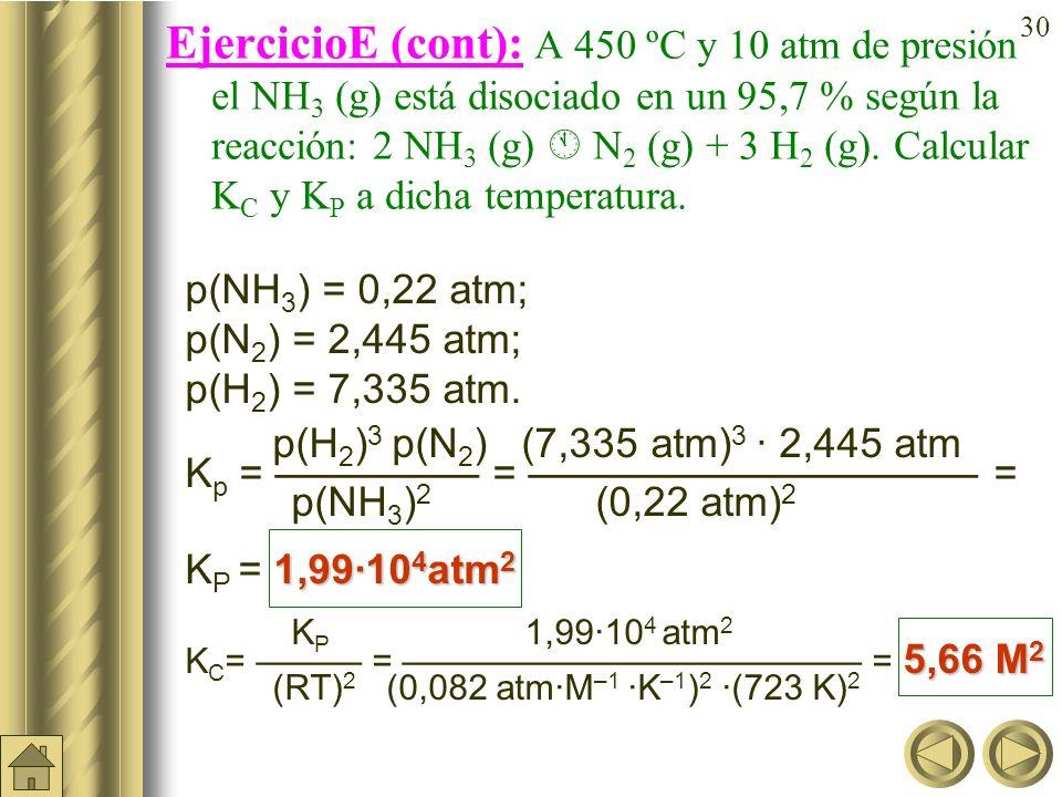 29 EjercicioE: A 450 ºC y 10 atm de presión el NH 3 (g) está disociado en un 95,7 % según la reacción: 2 NH 3 (g) N 2 (g) + 3 H 2 (g). Calcular K C y