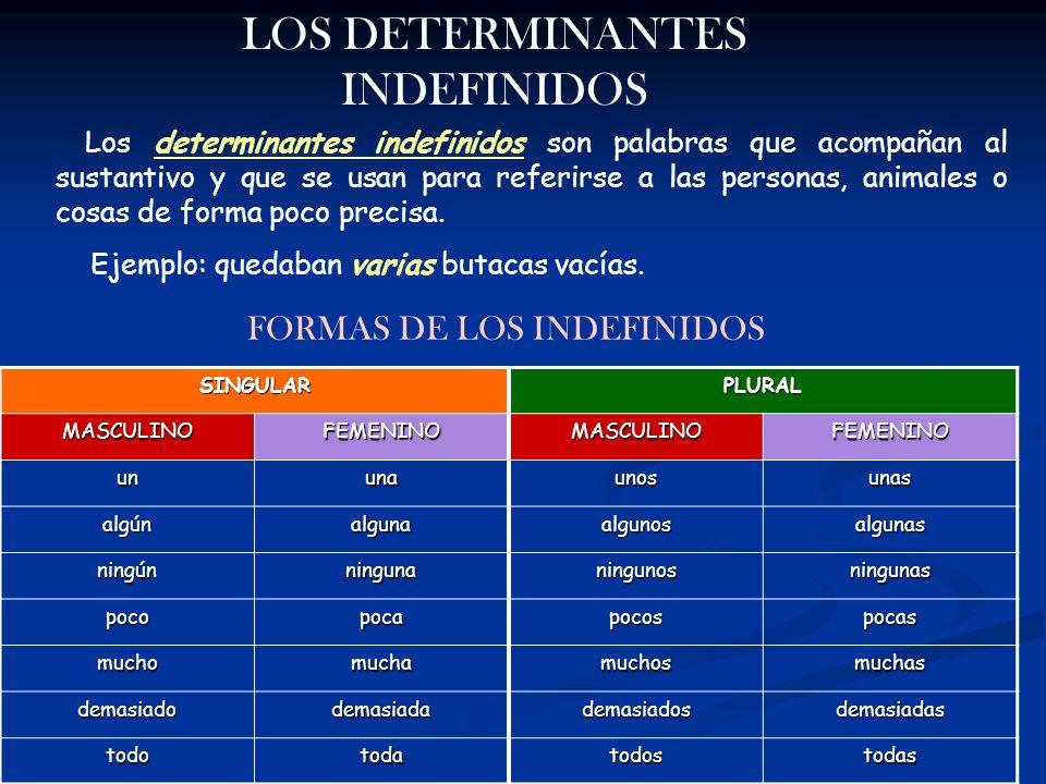 LOS DETERMINANTES INDEFINIDOS Los determinantes indefinidos son palabras que acompañan al sustantivo y que se usan para referirse a las personas, anim