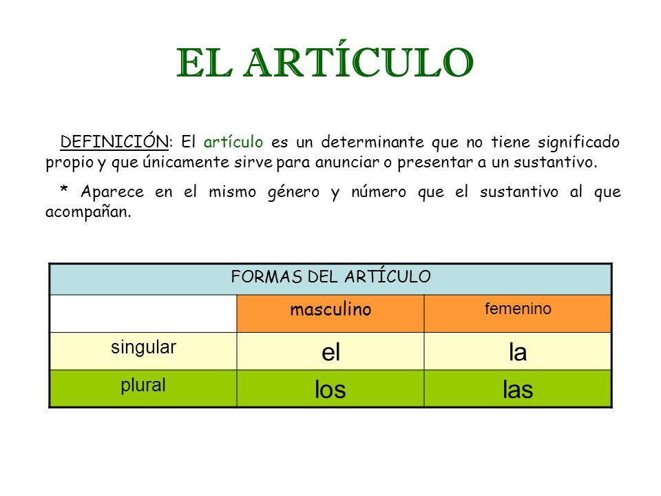 EL ARTÍCULO DEFINICIÓN: El artículo es un determinante que no tiene significado propio y que únicamente sirve para anunciar o presentar a un sustantiv