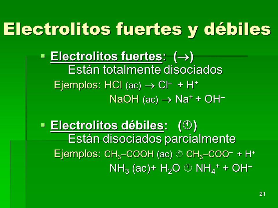 21 Electrolitos fuertes y débiles Electrolitos fuertes: ( ) Están totalmente disociados Electrolitos fuertes: ( ) Están totalmente disociados Ejemplos