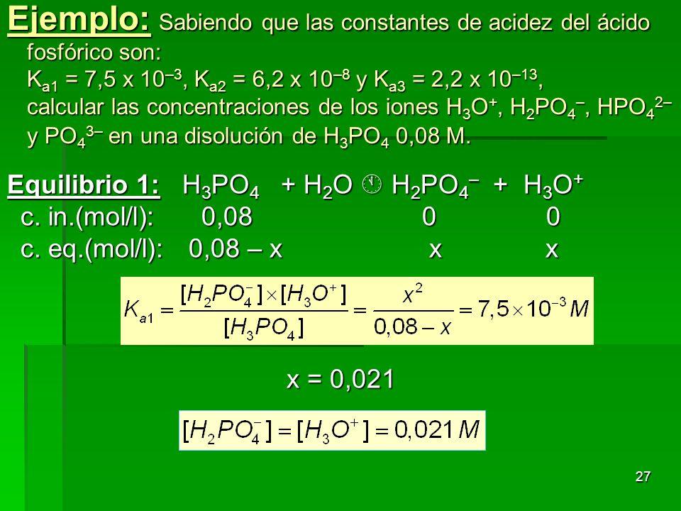 27 Ejemplo: Sabiendo que las constantes de acidez del ácido fosfórico son: K a1 = 7,5 x 10 –3, K a2 = 6,2 x 10 –8 y K a3 = 2,2 x 10 –13, calcular las