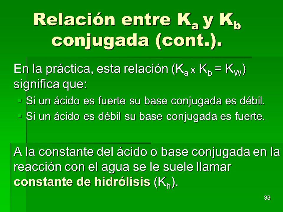 33 Relación entre K a y K b conjugada (cont.). En la práctica, esta relación (K a x K b = K W ) significa que: Si un ácido es fuerte su base conjugada